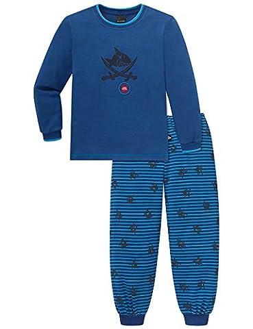 Schiesser Jungen Zweiteiliger Schlafanzug Capt´n Sharky Kn lang, Gr. 92 (Herstellergröße: 092), Blau (blau