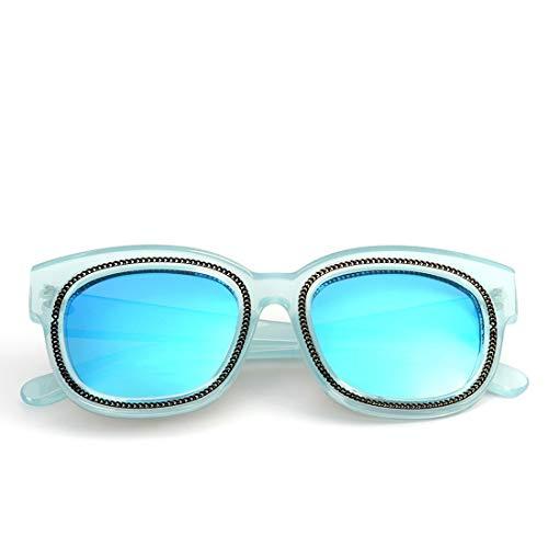 Honneury Retro Vintage Kunststoffrahmen Sonnenbrille UV-Schutz Sonnenbrillen für Frauen (Farbe : Blue Frame/Blue Lens)