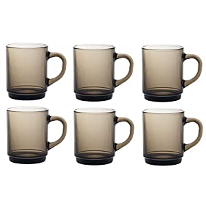 41CT3IakQkL. SS300  - Duralex Versailles Glass Mugs Cups 260ml, Smoke, Set of 6 4020CR06