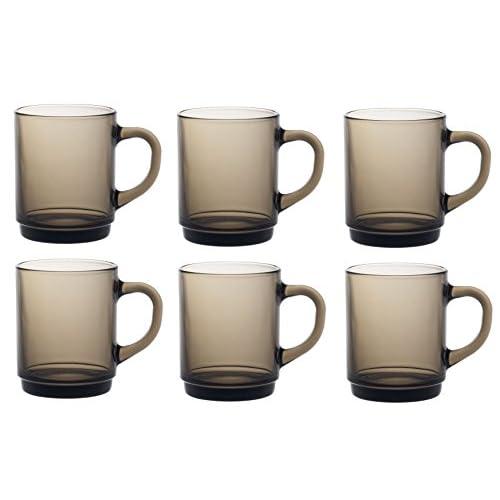 Duralex Versailles Glass Mugs Cups 260ml, Smoke, Set of 6 4020CR06