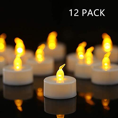 HANZIM 12 unidades LED Velas CR2032 pilas velas sin llama,Velas de té,Velas LED,Velas parpadeantes sin Llama,Velas Artificiales realistas a Pilas con luz Amarilla cálida (12 PACK)