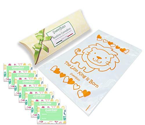 SweetBaby 7 Bustine Corredino Neonato - Sacchetti per Cambio Vestiti Nascita Ospedale, 7pz Buste Trasparenti, Chiusura con Cursore Ermetico, per Borsa Parto (Leone)