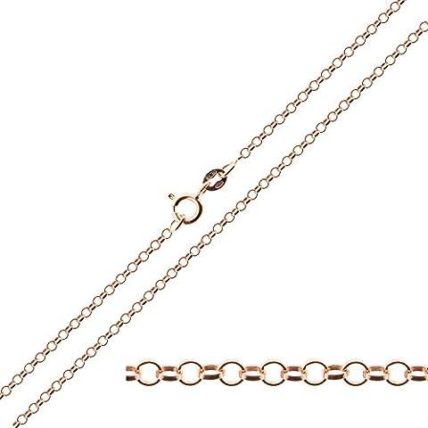 Placcato in oro rosa 9 carati in argento Sterling 925, larghezza 1,8 mm, in confezione regalo, con semplice, disponibile in 40,64 cm (16