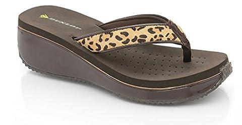 Sandales en simili cuir pour femme à talons compensés dunlop & poney cheveux flip flops léopard - Multicolore - Leopard, 39