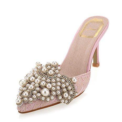 WZG Baotou nuove scarpe a punta poco profonda della bocca sottile di colore del diamante del tallone perline sandali e ciabatte tacco alto Ms. , pink , 39