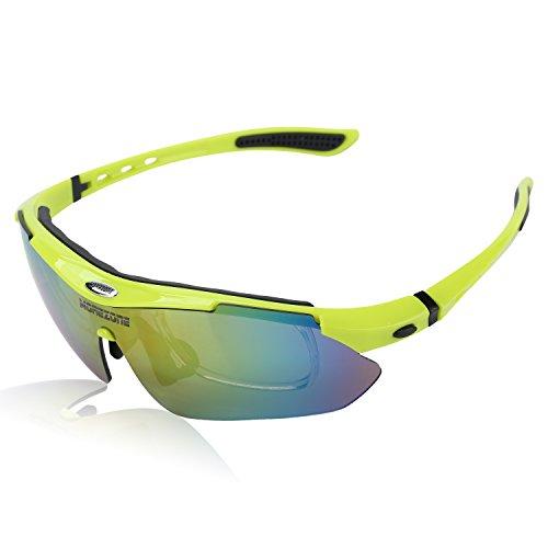 MOREZONE Radbrille, Polarisierte Radbrillen Brille Sunglasses zum Ski Hiking Outdoor-Sport Brillen mit 5 wechselbaren Linsen, UV-Beständig Fahrrad Radbrillen Fahrradbrille