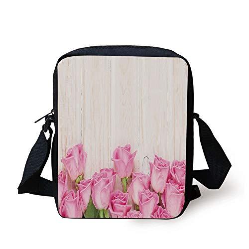 Pink Flowers Body Cream (ZKHTO Rose,Valentines Day Celebration Inspired Composition Flowers on Wood Planks Print Decorative,Pink Green Cream Print Kids Crossbody Messenger Bag Purse)