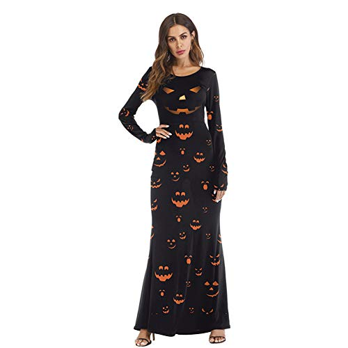 Funny Kostüm Ghost - WANSHENGJIE Halloween Kleid Scary Ghost Halloween Kostüm Damen Kleid Bloody Funny Skinny Pumpkin Langarm 3D Print Clown Kleid Polyester, Pumpkin