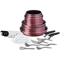 Tefal L2289002 Ingenio Essential Set De 20 Pièces Tramé Rouge Tous Feux Sauf Induction,