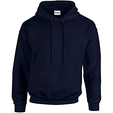 Gildan -  Felpa con cappuccio  - Collo a U  - Maniche lunghe  - Opaco - Uomo Blu blu navy XL