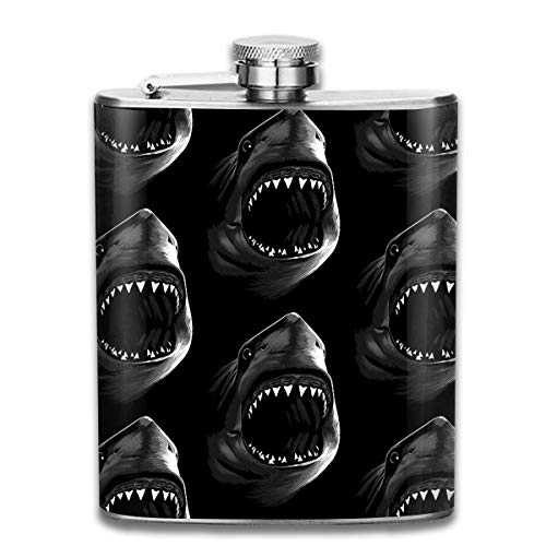 Rundafuwu Flask for Liquor7 Oz Stainless Steel Flask Mini Shot Flask Cannibal Shark Wine Pot Whiskey...