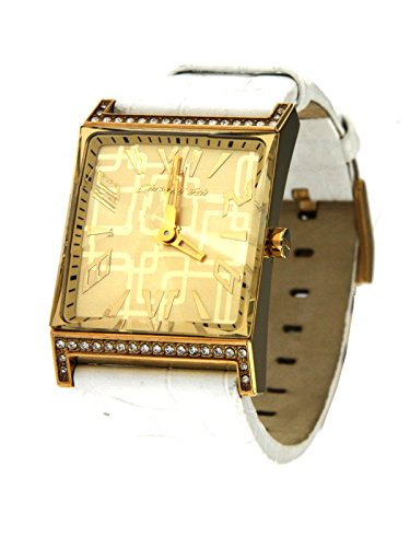 Chronotech Women's ultra-stylish Gold Only Time Steel Case Watch with Rhinestones and White Leather Strap