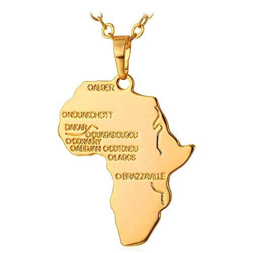U7 Schicke Afrikanische Landkarte Anhänger Halskette 18k vergoldet Karte von Afrika Modeschmuck für Damen Herren Unisex (Gold Afrika-karte Anhänger)
