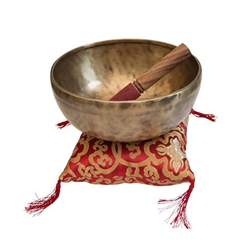 lillybox Hochwertige traditionelle Klangschale mit Kissen und Stab, Nada Yoga, ca. 21cm Durchmesser, 1300-1550 Gramm