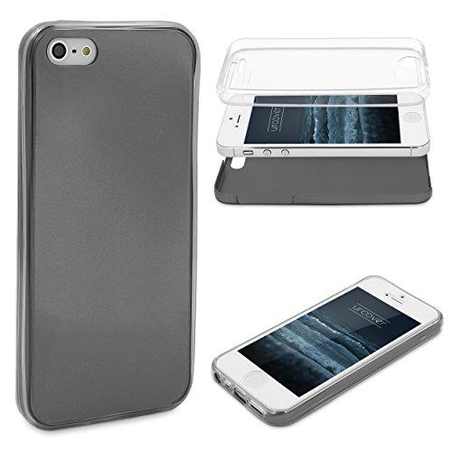 Urcover® Metalloptik Ultra Slim 360 Grad Edition | Apple iPhone 5 / 5s / SE | TPU in Schwarz | Zubehör Tasche Case Handy-Cover Schutz-Hülle Schale
