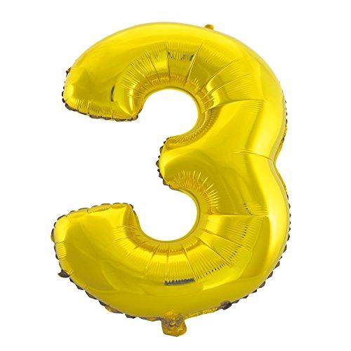 Cotigo-Globo Balloon Foil Brillante número Gigante cumpleaños de helio 100cm dorado 3