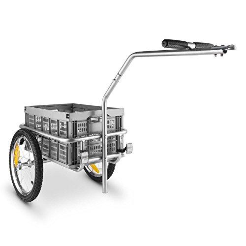 DURAMAXX Bigbig Box rimorchio per Biciclette con Ruote (Capacitá 40 Litri, 40 kg, Telaio in Acciaio) Grigio