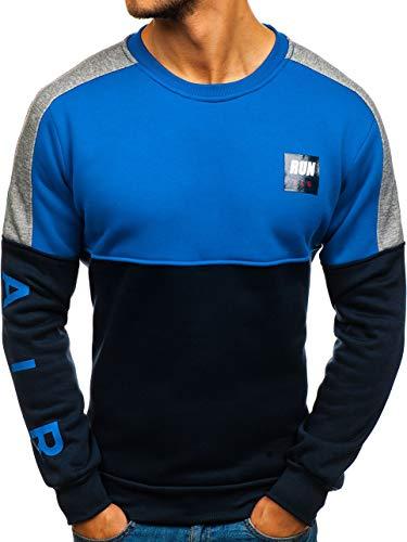 BOLF Herren Sweatshirt ohne Kapuze Aufdruck Rundhalsausschnitt Sportlicher Stil RED Fireball HY313 Dunkelblau-Blau L [1A1]