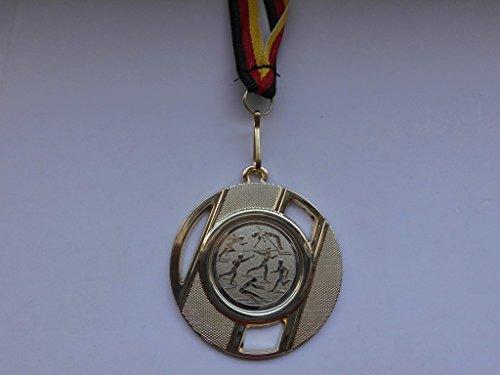 Fanshop Lünen Medaillen aus Metall 50mm - mit einem Emblem 25mm - Leichtathletik - Speerwurf - Hochsprung - Laufen - usw. - inkl. Medaillen-Band - Farbe: Gold - mit Emblem 25mm - Medaille - (e257) -