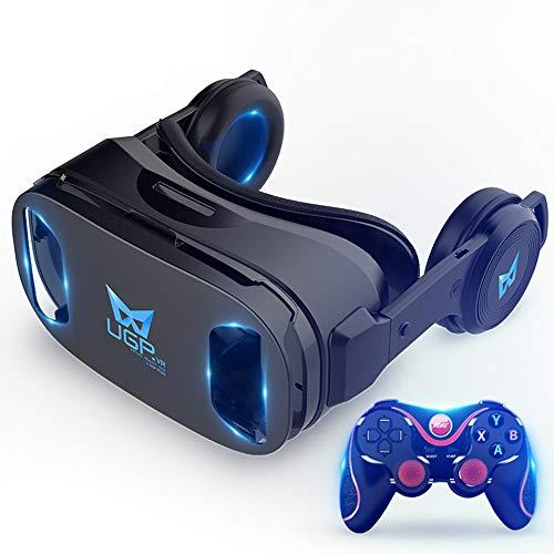 VR Headset 3D Brille Virtual Reality Headset 3D Filme mit Fernbedienung für VR-Spiele geeignet für 5,5-6,2 Zoll IOS/Android-Handy