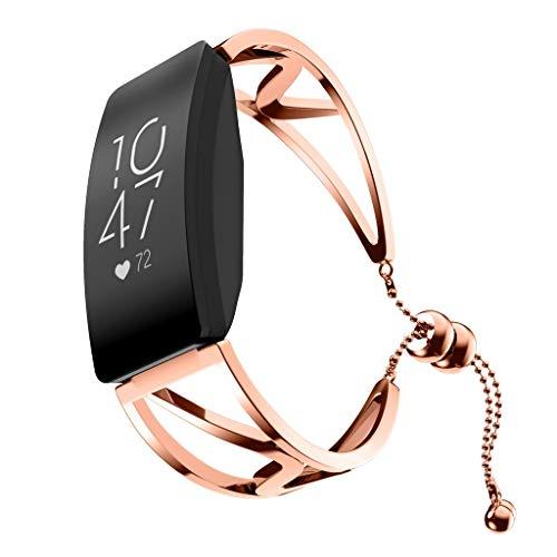 XZDCDJ Fitness Armband Smartwatch Damen, Aktivitäts-Tracker für Fitbit Inspire/Inspire HR Uhrenarmband Wirstband Strap mit Displayschutzfolie Rose Gold -