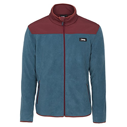 Jeep Herren Sweatshirt Polar Windfleece Jacket Blue/Burgundy