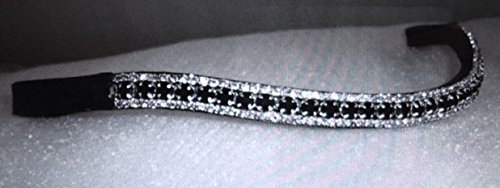 Cwell Equine BLING!*Leather Mega-Sparkly Browband*3-Row Crystals*Dressage*BLACK/CLEAR F/C/P BLACK 1