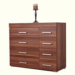 Chest of drawers 4 4 drawers 8 drawer walnut bedroom for Bedroom furniture amazon