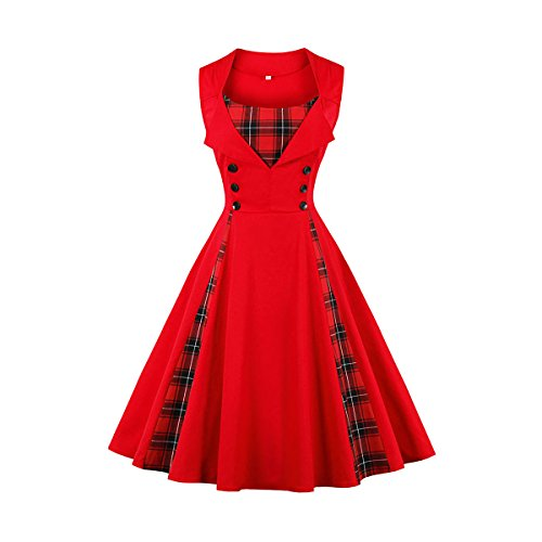Damen 50s Retro Vintage Swing Kleider Rockabilly Kleid Partykleider Cocktailkleider Party Kurzarm Rockabilly Cocktail Abendkleider(Rot 2XL) (Kleid Damen Couture)