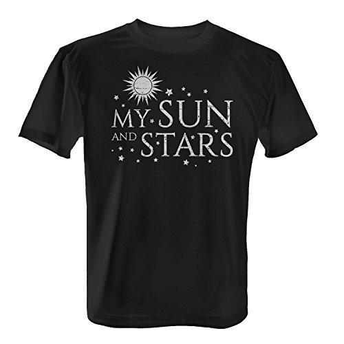Fashionalarm Herren T-Shirt - My Sun And Stars   Fan Shirt zur GoT Serie als Geschenk Idee für verliebte Paare zum Valentinstag & Jahrestag Schwarz