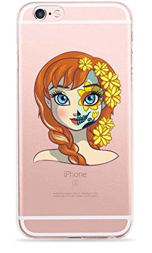 Phone Kandy® Ultra dünner Zucker-Schädel-Prinzessin-Tag des toten freien transparenten TPU Silikon-Zombie-Karikatur-Fall-u. Schirm-Schutzes Hülle Abdeckung Haut tascen (iPhone 5 5s SE, 3. Anna)