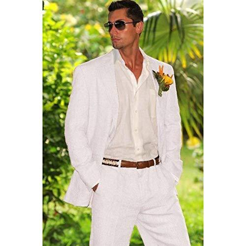 GFRBJK Weiß Elfenbein Leinen Herren Anzug Hochzeitsanzug Für Groomsmen Herren Casual Sommer Strand Maßgeschneiderte Jacke Hosen Pants Wie Bild , XL -