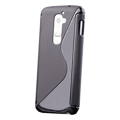 LG G2 | iCues S-Line Black Case Schwarz | [Display Schutzfolie Inklusive] Silikon Gel Schutzhülle Hülle Cover Schutz (Lg G2 Phone Case)