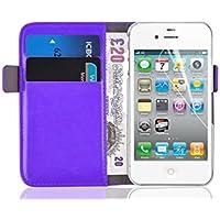 iPhone 4 Hülle, JAMMYLIZARD Luxuriöse Flip Cover Ledertasche mit Kartenfach für iPhone 4 & 4s, LILA