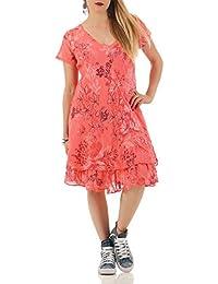 d45def963b3f ZARMEXX Sommerkleid knielang doppellagig Baumwolle Kleid Strandkleid V- Ausschnitt floraler All-Over Print