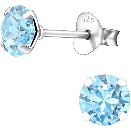 JAYARE runde Ohrstecker für Kinder 925 Sterling Silber Swarovski Elements Glitzer-Kristalle 5 mm aquamarine-blau Mädchen-Ohrringe Kinderschmuck (Runde Swarovski-kristallen)