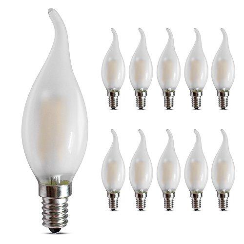E14LED Candelabra Bombilla 4W, 2700K, cálida y suave color blanco 400lm, E14base regulable bombillas LED vela, C35esmerilado cristal llama forma punta doblada, 40W incandescente equivalente, 10unidades