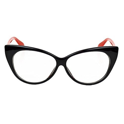 iB-iP Damen Cateye Brillen Mit Klarer Linse, Rot
