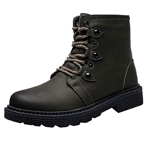 Botte Hiver Homme, Manadlian Bottes Militaires Tête Ronde Chaud Boots Cuir Imperméable Mode Homme Chaussures