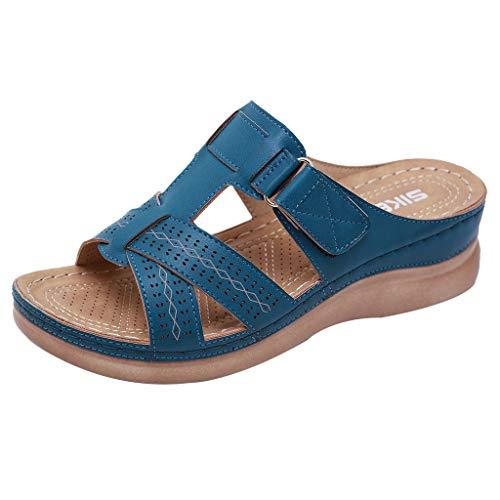 Fuibo Damen Flipflops Sommer Open Toe Haken Schleife bequeme Sandalen Casual Wedges rutschfeste Hausschuhe Schuhe Keilabsatz Sandalen (38 EU, Blau) -