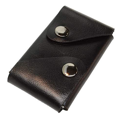 LOUNIGO Exclusive Wallet, Kleine Geldbörse Herren, Kartenfach für bis zu 12 Kreditkarten, Mini Portemonnaie Smart mit Münzfach und Scheinfach, Geldetui Slim, Leder (Flat-Black)