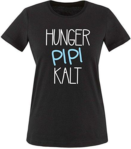 Luckja Hunger Pipi Kalt Damen Rundhals T-Shirt Schwarz/Weiss/Hellbl