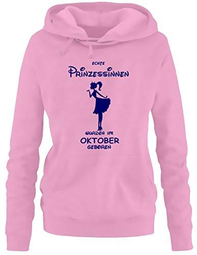 Prinzessin Echte Kleid (Echte Prinzessinnen wurden im Oktober geboren ! Damen - Mädchen Geburtstag HOODIE Sweatshirt mit Kapuze PINK,)