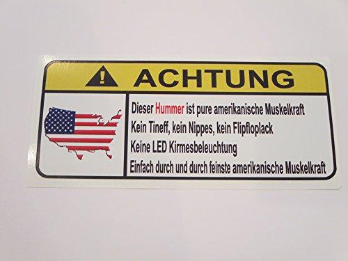 Hummer Pure Amerikanische Muskelkfaft Lustig Warnung Aufkleber Decal Sticker