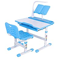 Greensen Desk Chair Set, Multi-functional Desk and Chair Set Childen Kids Study Table School Student Desk with Lamp and Book Stand Blue, Height Adjustable