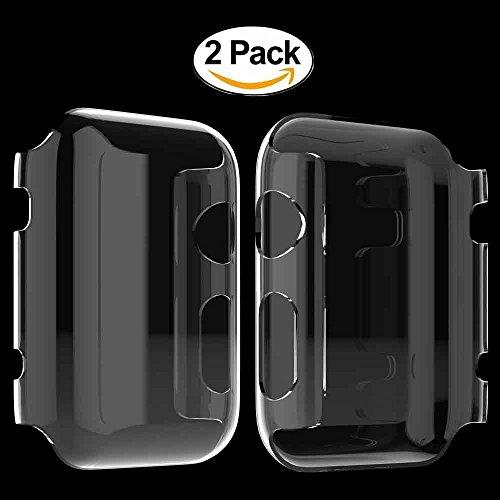 2 X Apple Watch Funda, 4H Dureza Policarbonato Proteger Completamente Case Cover Funda Bumper [Ultra-delgado] [Shock-Absorción] [Anti-Arañazos] [Transparente] para Apple Watch Series 1 42mm