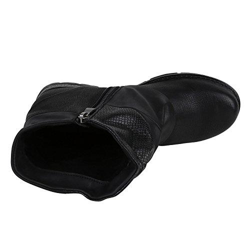 ef08c053f742f5 ... Stiefelparadies Damen Biker Boots Leder-Optik Stiefeletten Warm  Gefütterte Booties Blockabsatz Winter Schuhe Winterboots Zipper