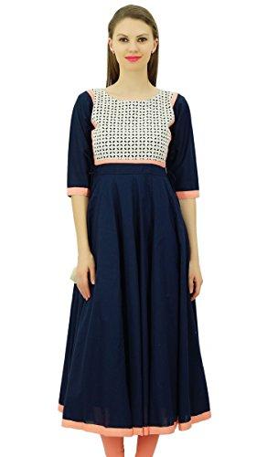 Bimba Frauen ausgestellte Anarkali Designerkleid Baumwolle Kurta Chic benutzerdefinierte Kurti lange Tunika Navy Blau