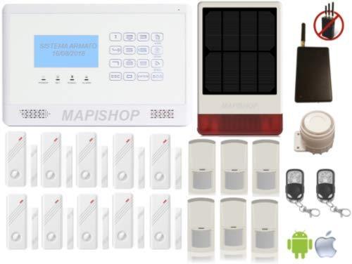 Mapishop Erika Antifurto Allarme Casa Kit nuovo modello 2019, Con Esclusivo Modulo AntiJammer , Combinatore GSM app Gratuita ios/android, video TUTORIAL e istruzioni in Italiano (ERIKA B3solar J)