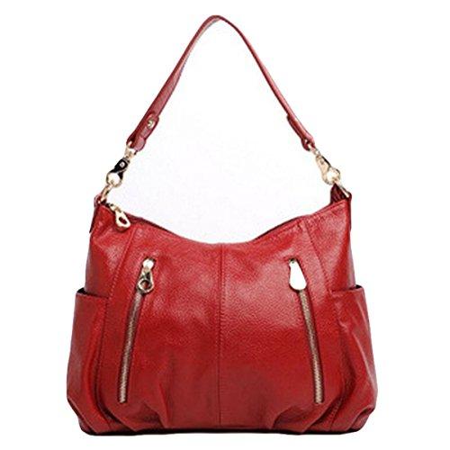 Damen Tasche Handtasche Mode Leder Schultertasche Messenger Tasche Freizeit Atmosphäre Elegant Red